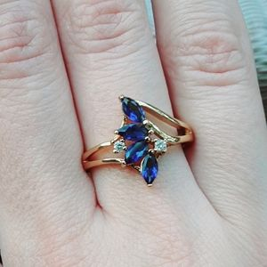 Jewelry - NWOT 18K Gold Filled Vintage Style Sapphire Ring